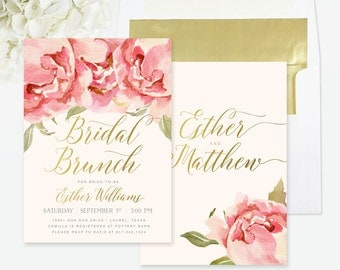 Bridal Shower Brunch Invitation, Bridal Brunch Invite, Brunch with the Bride Invite, Floral, Gold, Peach & Pink Peonies / Roses - Everly