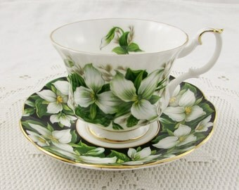 Royal Albert Trillium Tea Cup and Saucer, MISMATCH, Marriage Tea Cup and Saucer, Black Saucer with White Tea Cup, Vintage Bone China