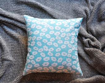 Floral Cushion Cover, Throw Pillow Cover, Throw Cushion Cover, Decorative Cushion Cover, Decorative Pillow Cover - Light Blue