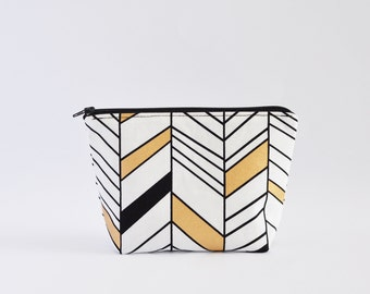 Geometric Cosmetic Bag, Zipper Pouch, Makeup Bag, Makeup Pouch, Cosmetic Pouch, Toiletry Bag - Black, White & Gold Lines