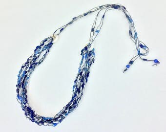 Blue Ribbon Necklace Shell Bead Trellis Necklace Multistrand Crochet Jewelry Blue Necklace Ladder Necklace Adjustable Handmade Jewelry