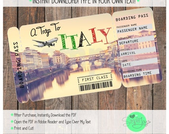 Printable Ticket to Italy Boarding Pass, Customizable Template, Digital File - You Fill and Print