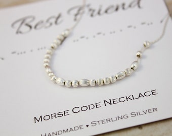 Gift for Best Friend necklace, Morse Code necklace Sterling Silver dainty minimalist Friendship jewelry unique Birthday gift for friend