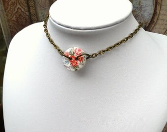 Button Choker, Bronze Chain Choker, Vintage Style Necklace, Floral Button Necklace, Choker Necklace - 00071