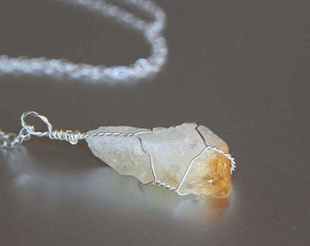 Small Citrine Necklace, November Birthstone, Raw Stone, Wire Wrapped, Sterling Silver, Healing Crystal, Boho Jewelry