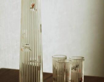 Art Deco Decanter Set of 3 shots Soviet glass decanter with stripes and animals Liquor decanter