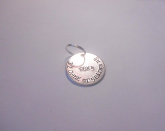 Pet id tag hand stamped, animal tag, custom pet tag, address tag, name tag, identification tag, dog collar tag, cat collar tag.
