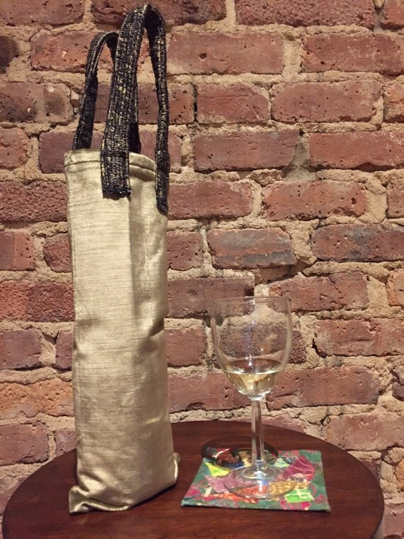 Wine tote bag.  Beautiful Gold velvet wine tote with accent handle