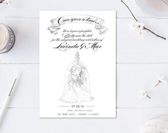 NEW Beauty and the Beast Save the Dates, Save the Date, Fairytale Wedding, Princess, Disney Wedding, Rose  (set of 25 cards)