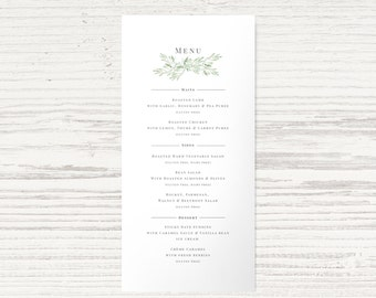 001 - 'Olive Leaf' Menu - Green & Grey - Matching Wedding Suite Available - Custom Design