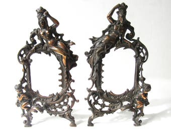 Impressive Rustic Art Nouveau Rococo 1900s Spelter Antique Upright 35cm Photo / Mirror Frames - Free Postage A/F
