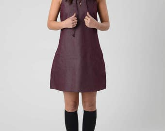 Women's Dresses, Bordeaux Mini Dress, Boho Dress With Pockets, Party Dress, Sleeveless Cotton Dress,  Short Casual Dress, Cocktail Dress