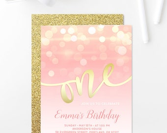 Blush Pink And Gold Birthday Invitation Girl First Birthday Party Gold Glitter 1st Birthday Invitation Printable Light Pink Gold Bokeh 5x7