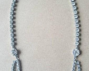 Sparkly Vintage White Pale Blue Diamant Paste Floral Flower Necklace