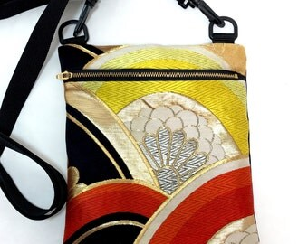 Kimono Obi Cross body Bag Upcycled From Vintage Japanese Kimono Obi, Mothers day, Obi Bag, gift for her,Mom, Shoulder bag,messenger bag, zip