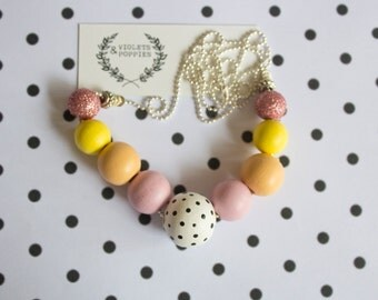 Lemon Sunshine Orange Hand Painted Round Wooden Bead Necklace, Polka dots, 5th anniversary gift for her, Women accessory, Mum Mother's