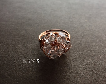 Herkimer Diamond Cluster Ring - Size US 5