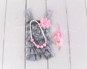 Pink & Gray Baby Romper Outfit, Cake Smash Outfit, Baby Girl Romper,  Gray and Pink Birthday Romper, Newborn Romper, Baby Photo Prop,