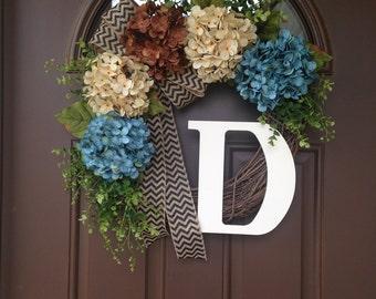 Hydrangea Wreath for Front Door - Spring Wreath with Initial - Summer Monogram Wreath for Door - Rustic Front Door Decor - Housewarming Gift