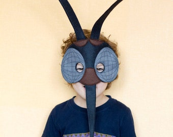 Mosquito Felt Mask, Insect costume, children mosquito mask, adult insect mask, Black Mosquito costume, Masquerade mask, Bug mask, dress up