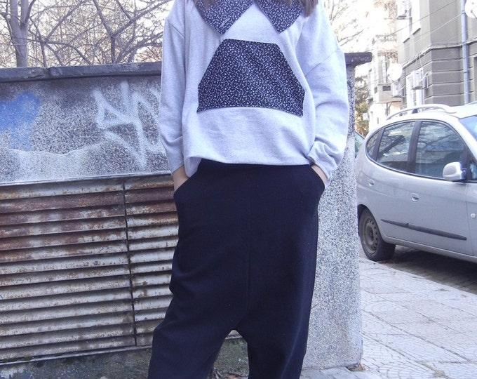 Cotton Black Harem Pants, Drop Crotch Pants, Side Pockets Oversized Trousers, Flattering Alternative Pants