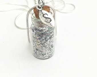 Glass bottle pendant, personalised glass bottle necklace, glitter necklace, glitter bottle pendant, personalised pendant, glass bottle