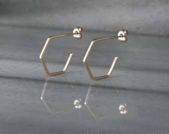 Gold Hoop Earrings, Gold Hexagon Hoops, 14K Gold Earrings, Yellow Gold, Hexagon Earrings, Everyday Earrings, Dainty Jewelry, Gift For Her
