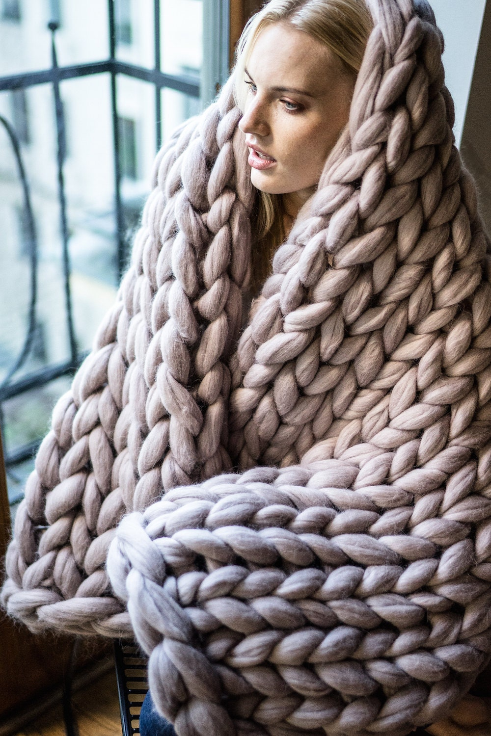 Knitting Wool Blanket : Chunky knit blanket giant yarn throw wrap arm from