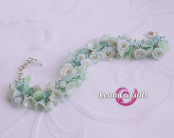 Bracelet with roses made of polymer clay