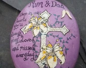 Mum & Dad memorial orament- remembrance stone-memorial gifts-in loving memory ornament-memorial keepsake-sympathy/remembrance gifts.