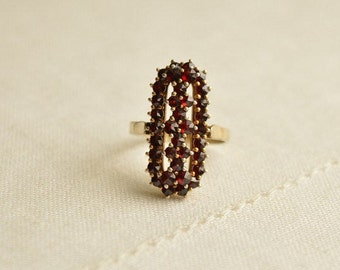 Antique Bohemian GARNET Silver 900 Ring, Antique Garnet Ring, Bohemian Garnet Jewelry, Antique Ring Size 6.5