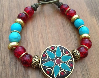 Red and Blue Turquoise  Bracelet with gold details and tibetan pieces