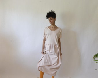 90s oversized baby doll scoop neck maxi dress. size s-m-l.