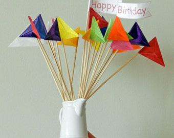 Cake Topper Flags to Celebrate Weddings, Birthdays, Graduations with Rainbow Kite Paper Flags and Wool Felt Toppers