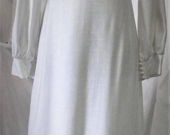 Vintage 1960's Dress White Wedding Gown Modest High Collar Long Sleeve Sleek Mid Century Modern Silk Linen Blend