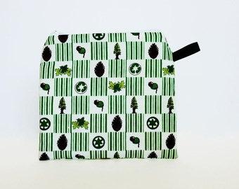 Think Green Reusable Sandwich Bag Snack Bag -School Lunch Bag Zero Waste Lunch Box Bag -Wet Bag Reusable Food Storage -Waterproof Bag Zipper