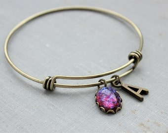 Personalized Dragons Breath Mexican Fire Opal Initial Bangle Charm Bracelet in Antique Brass.