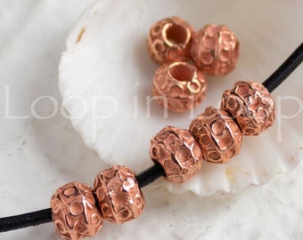 4 Bali Style Mykonos Greek beads, Bright Rose Gold on copper, Rustic dotty Ball round bead, beads with circles 7mm