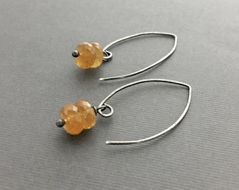 Citrine Earrings, Sterling Silver Jewelry, Artisan Earrings, Casual Jewelry, Under 50, Gifts for Her