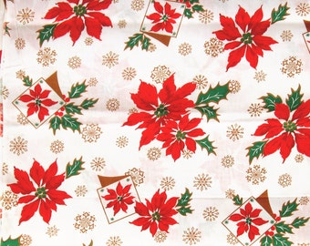 Vintage Christmas Fabric, Poinsettia Fabric, Vintage Yardage, Cotton Fabric, 1950s Fabric, SOLD by the YARD