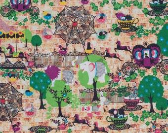 Kawaii Japanese fabric by Kiyohara in cotton / linen canvas - 1/2 YD