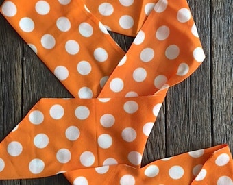 ON SALE - Vintage Orange And White Polka Dot Scarf - Vintage Orange Polka Dot Scarf - Orange And White Scarf