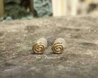 Gold Spiral Earrings - 14k Gold Filled Hammered Studs - Minimalist // Bohemian - Handcrafted in the USA