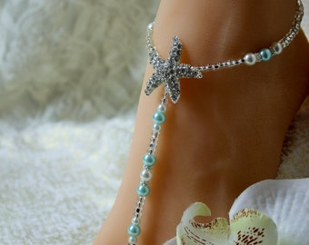 Pearl Crystal Barefoot Sandals Turquoise Foot Jewelry Beach Wedding Barefoot Sandals Aqua Starfish Anklet