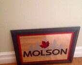 Bar Mirror/ MOLSON Canada Beer Ale Mirror Sign/ Wood Frame