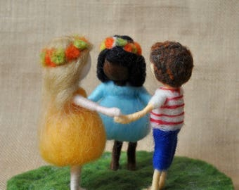 Children Playing Waldorf inspired needle felted doll :Boy and girls
