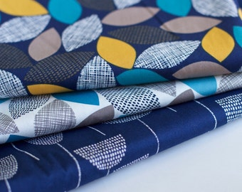 "THREADS by Eloise Renouf- Woodland Weaves on Navy. Cloud 9 Fabrics. Organic cotton POPLIN (not double gauze). Half Metre (19.5"")."
