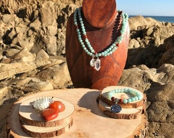 VIRGO Zodiac Gift Set 2 | AMAZONITE & Red JASPER | August September Birthstone | Mala Necklace Bracelet, 108 Mala Beads, Astrology Gifts