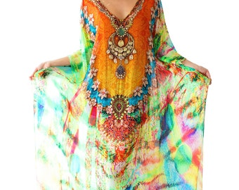 Kaftan dress, 100% Viscose  Crepe  multicolored heavily embellished relaxed fit gorgeous kaftan for beach or smart casual wear