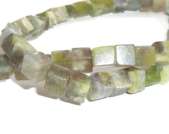 20 Serpentine Gemstone 6mm Cube Beads, Green Serpentine Beads, Gemstone Beads, Serpentine Cubes, DIY, Jewelry Design